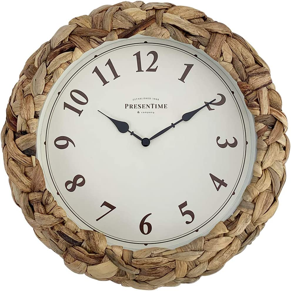 PresenTime & Co Farmhouse Series, Rustic Woven Clock, 10.6 inch, Natural Woven Water Hyacinth / Sea Grass