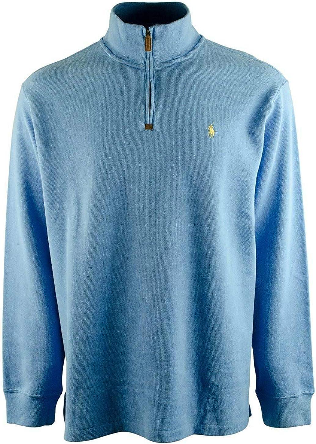 Polo Ralph Lauren Men's Half Zip French Rib Cotton Sweater (Small, Grey Heather/Navy Pony)