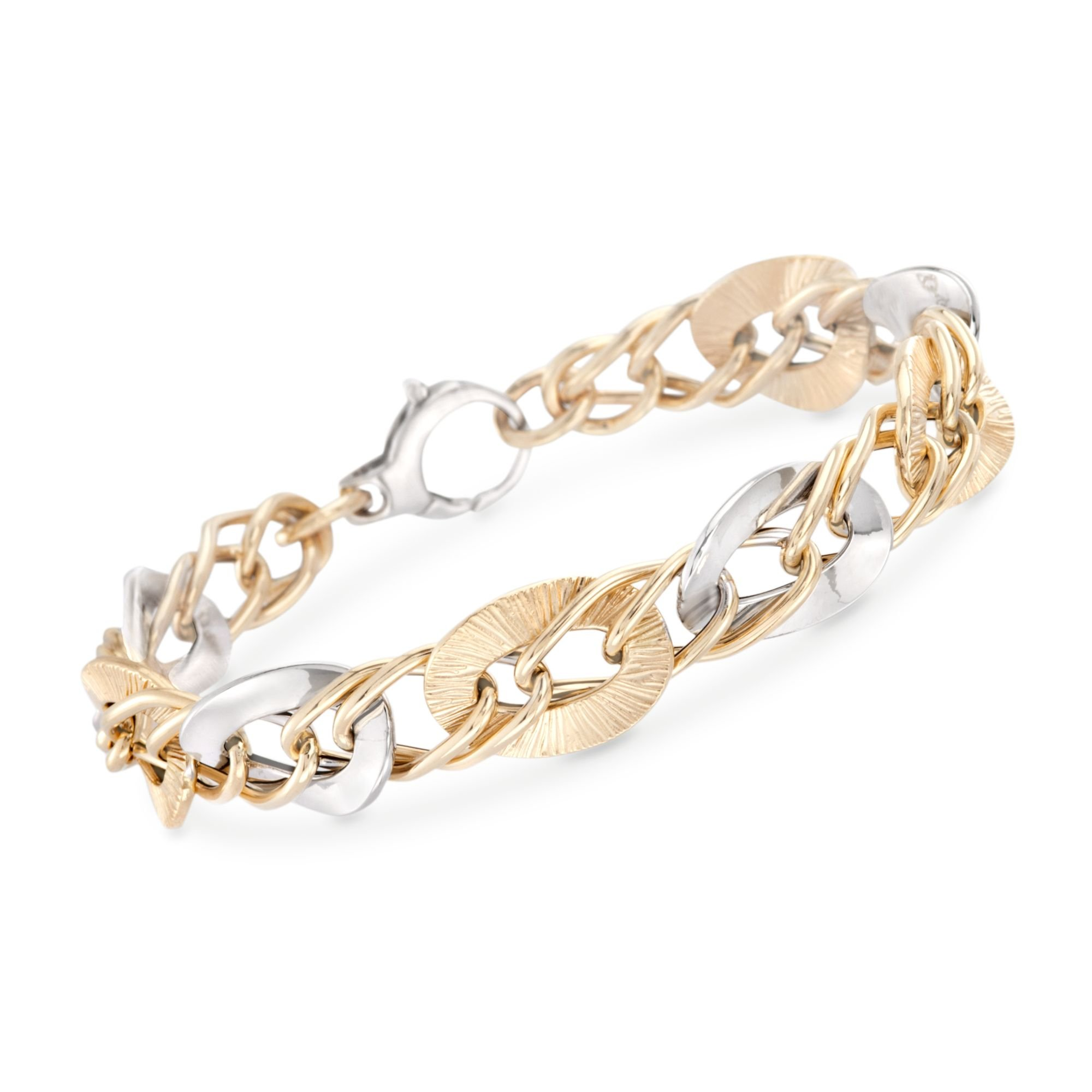 Ross-Simons ITALIAN 14kt TWO-TONE Gold Pleated and Polished LINK BRACELET