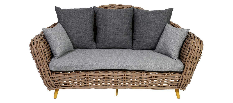 amazon de greemotion outdoor sofa loungesofa diningsofa couch breitgeflecht gartenmobel rattansofa 130904 braun