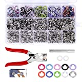 200 Sets Snap Fasteners Kit Tool, 10 Colors 9.5mm Metal Snap Buttons Rings with Fastener Pliers Press Tool Kit for Clothing (Color: Silver)