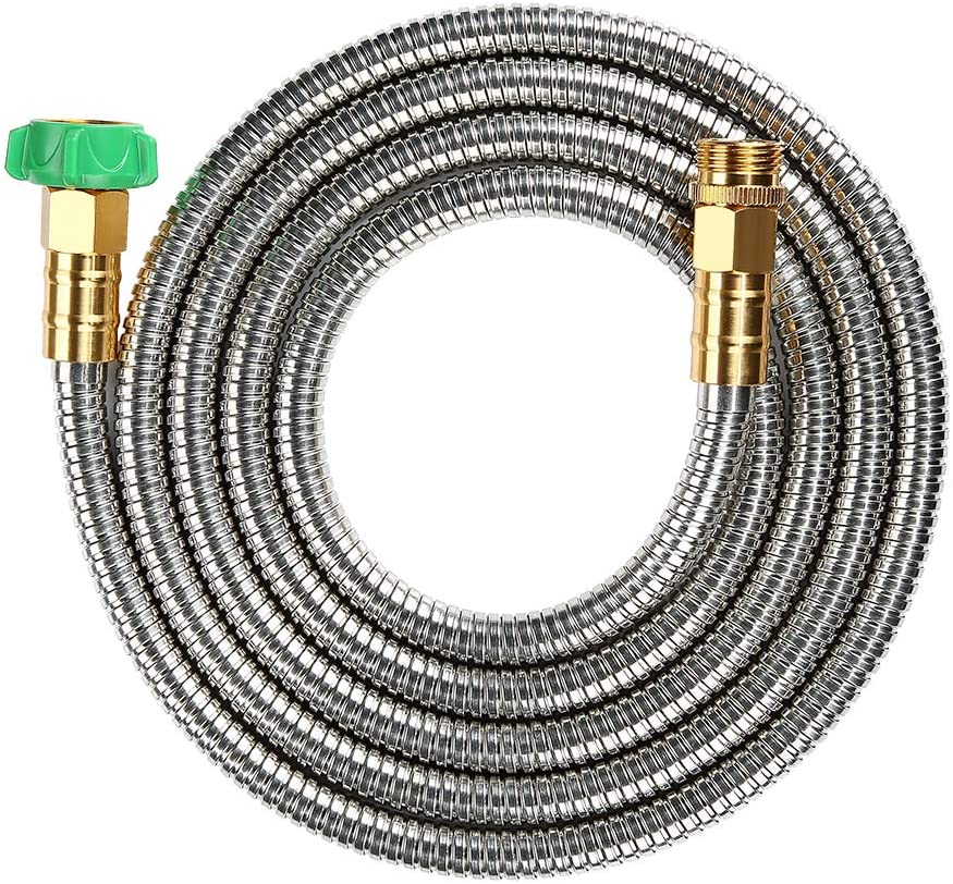BEAULIFE 304 Stainless Steel Metal Garden Hose Connector 10 Feet Short Garden Water Hose Extension Extender, Drinking Water Hose Lead and BPA Free