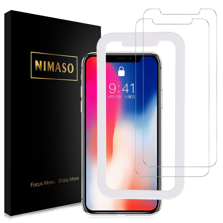 Nimaso iPhoneX/iPhoneXS用 液晶保護ガラスフィルム 【ガイド枠付き】 【2枚セット】