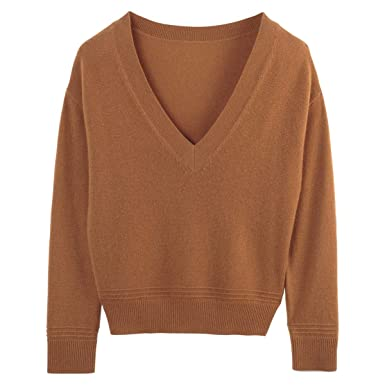 16d1aa04b089 La Redoute Collections Womens Cashmere V-Neck Jumper Sweater Brown Size S