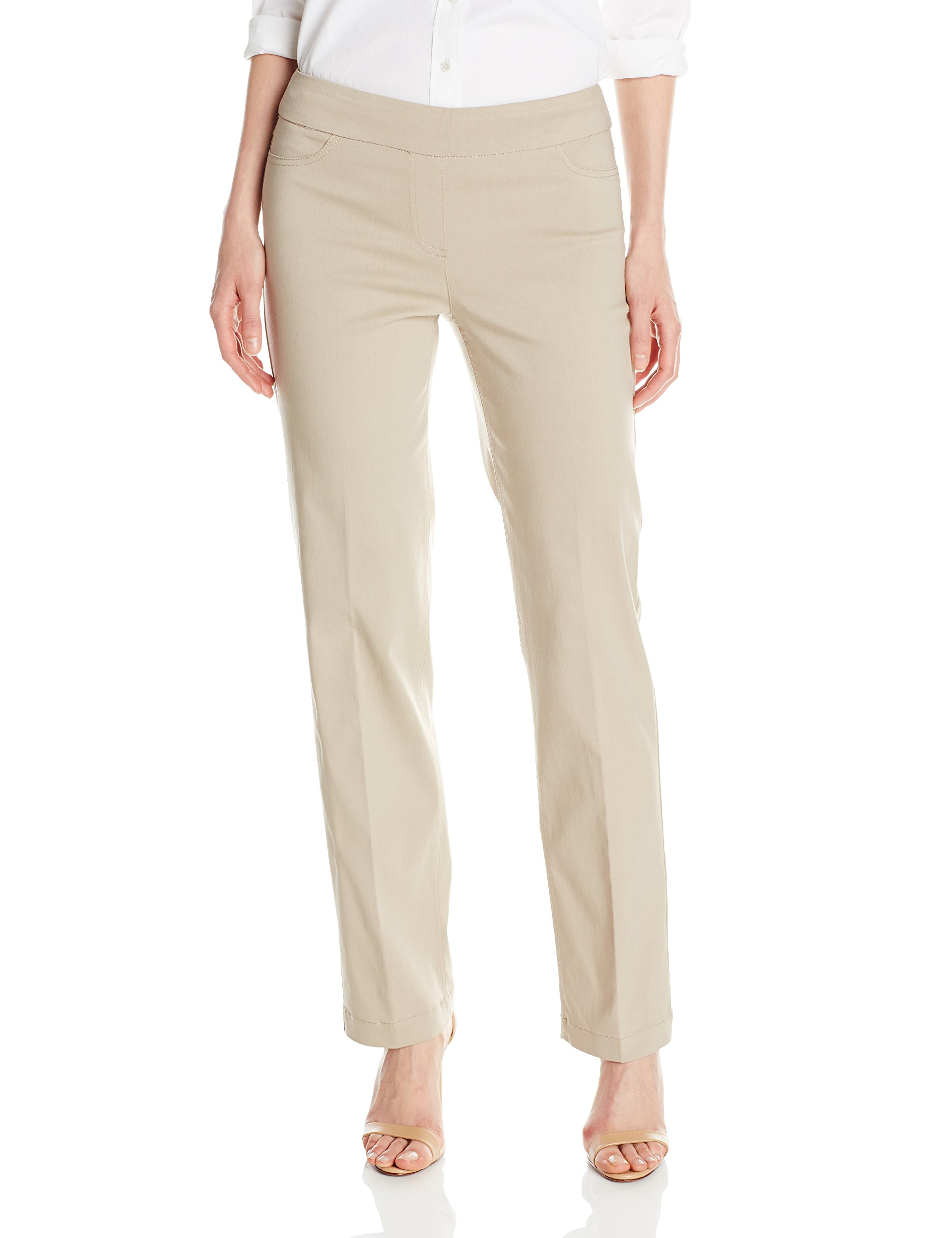 SLIM-SATION Women's Wide Band Pull-On Relaxed Leg Pant with Tummy Control, Stone, 10