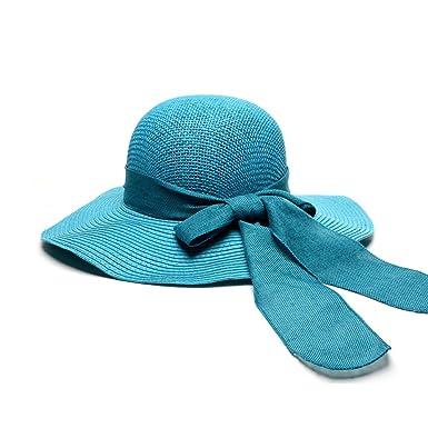 IVERIRMIN Womens Bow Ribbon Straw Sun Hats Wide Brim UV Church Party  Fashion Best Hat c545365a9fd