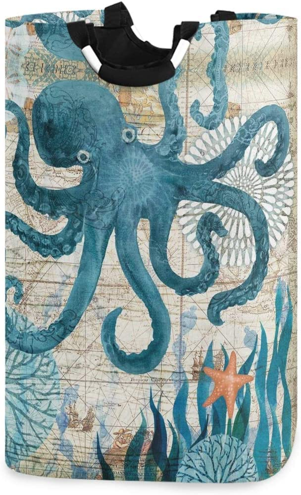 Kcldeci Watercolor Kraken Octopus Laundry Basket Starfish Sea Coral Collapsible Laundry Hamper Clothes Bag Foldable Storage Bin Toy Book Clothing Holder with Handle for Home Bathroom