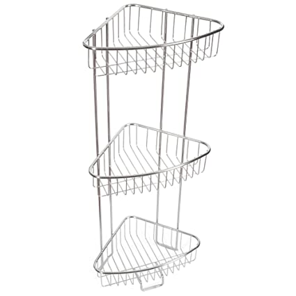 Bon ToiletTree Products Shower Floor Caddy, Stainless Steel, Rust Free  Guarantee, 3 Tiers