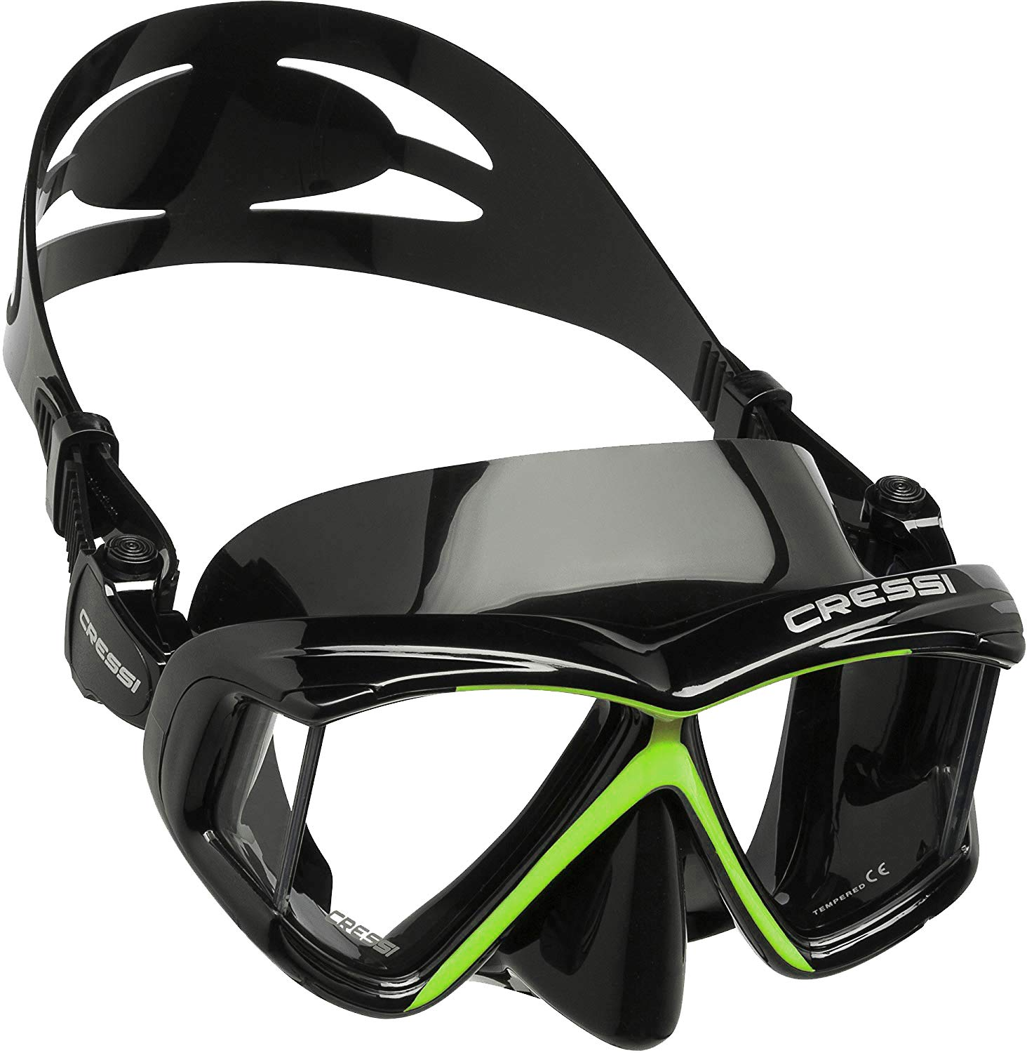 Cressi Panoramic 4 Windows Scuba Dive Mask, with Side View, Lime Green/Black by Cressi