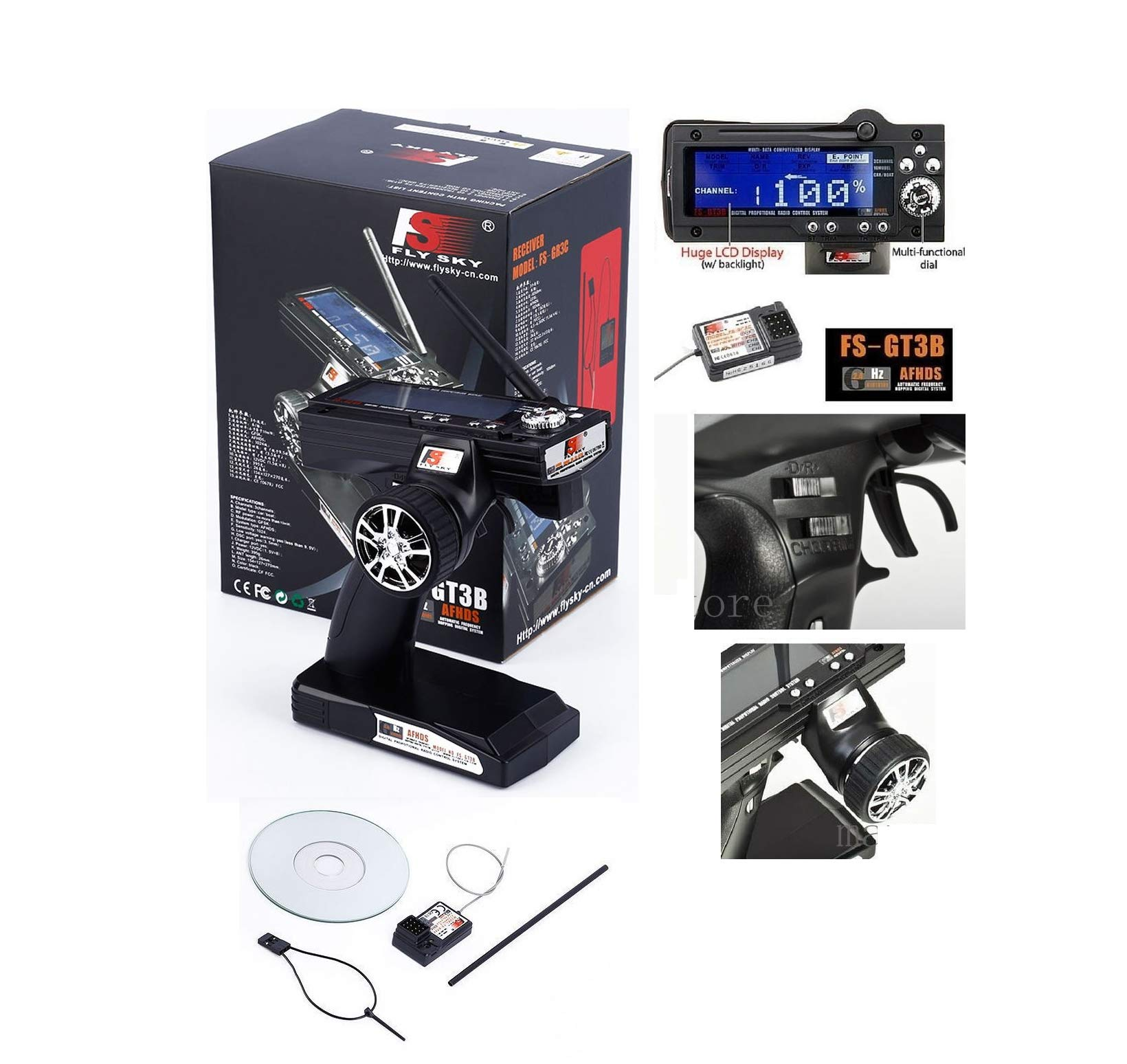Genuine FS-GT3B 2.4G 3CH Radio Remote LCD Transmitter & Receiver for RC Car Boat Quick Arrive