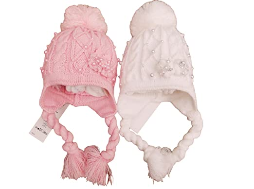 18b82fe8430 Hat BNWT Baby Girls Pink or White Winter Pearl Drop Bobble pom pom 12m to 3  Year  Amazon.co.uk  Clothing