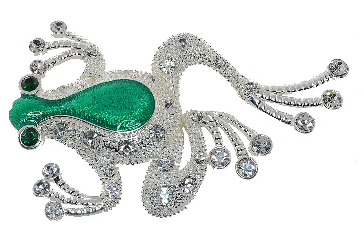 Vintage Silver Tone Green Frog Clear and Emerald Cubic Zirconia Pin Brooch