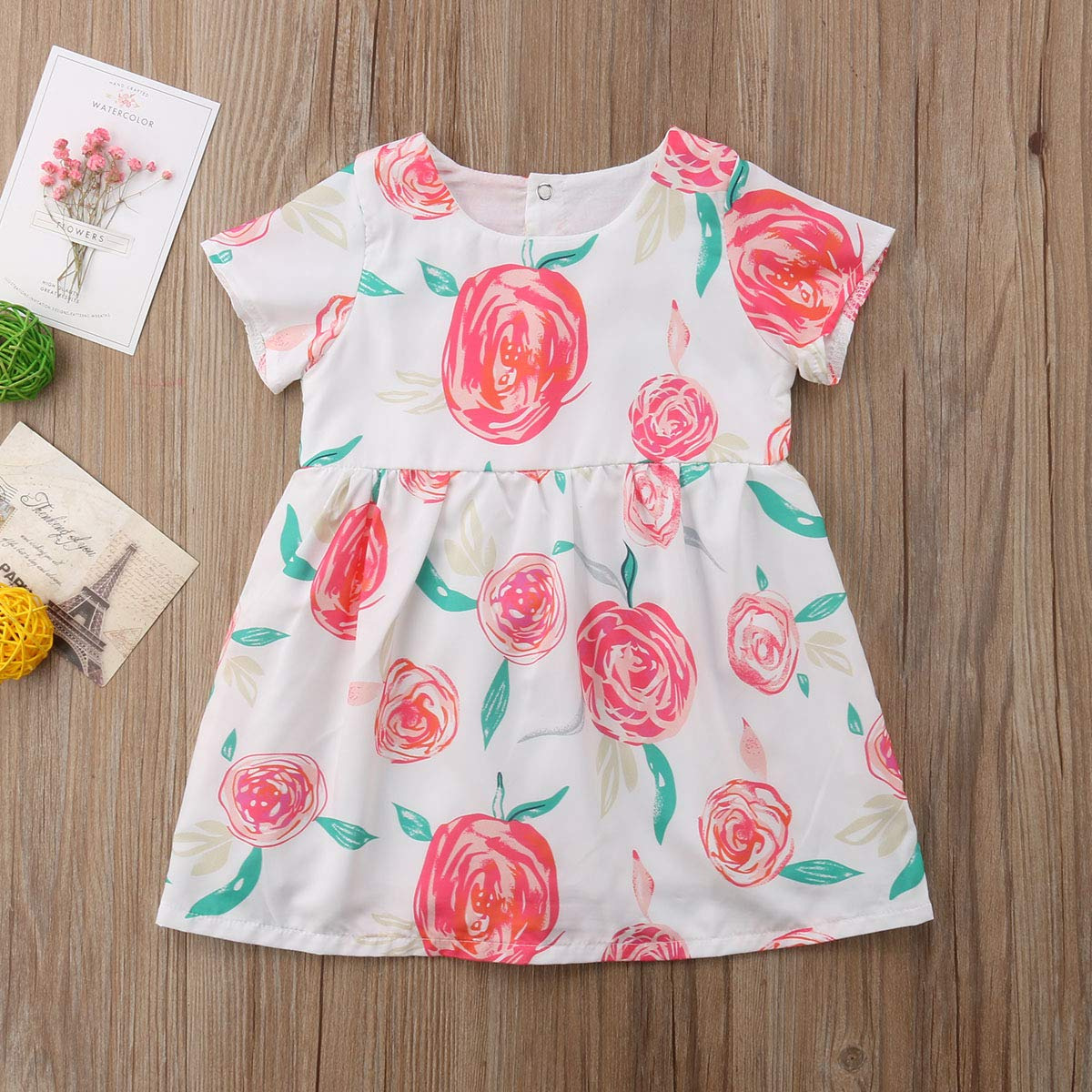 Cheeulish Toddler Baby Girl Kids Summer Rose Floral Short Sleeve Casual Dress Sundress