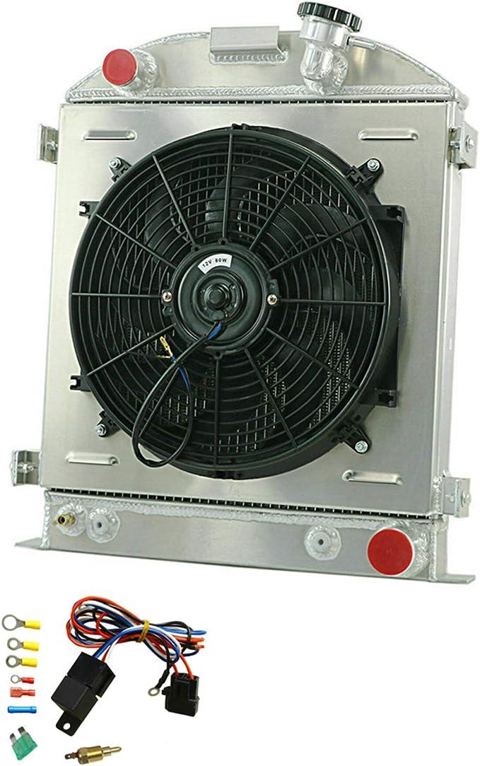 MONROE RACING U0133 64mm 3 core aluminum radiator+16 fan for 1932 FORD HIBOY HI-BOY CHEVY engine