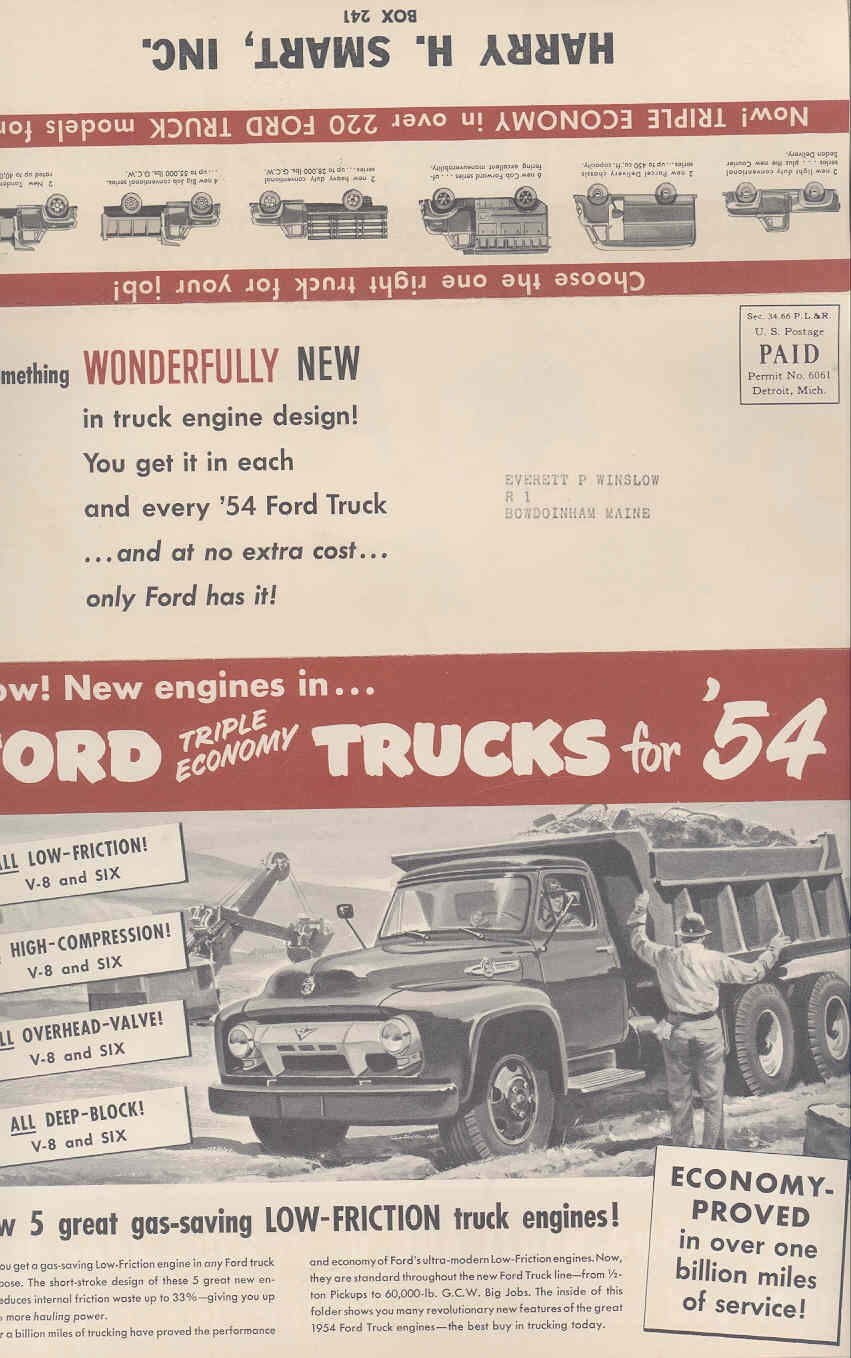 1954 Ford Pickup Stake Dump Parcel Coe Truck Mailer Brochure Entertainment Collectibles