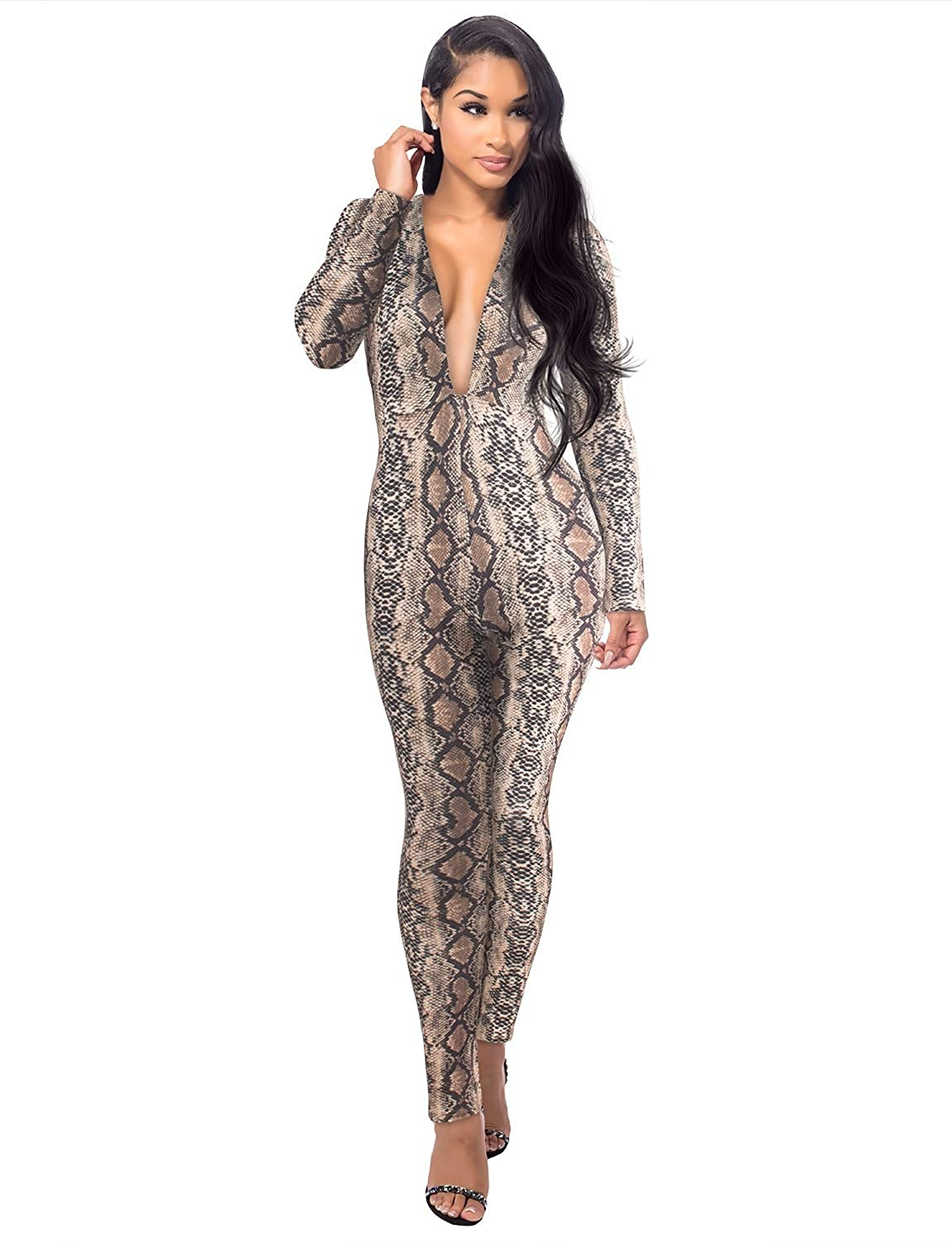 d33d725a4208 Amazon.com  Sedrinuo Women Sexy Snakeskin Long Sleeve Deep V Neck Bodycon Club  Jumpsuits  Clothing