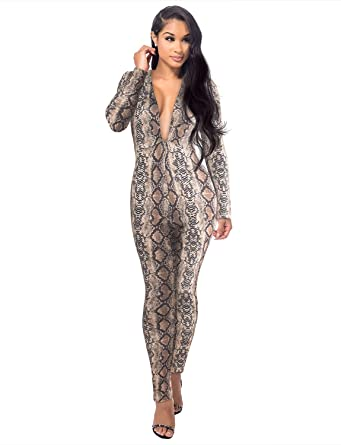 f6982c85e5a Amazon.com  Sedrinuo Women Sexy Snakeskin Long Sleeve Deep V Neck Bodycon  Club Jumpsuits  Clothing