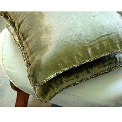 olive green pillows. Handmade Olive Green Throw Pillow Cover, Solid Color Beaded Cord Decorative Pillows D