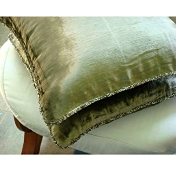 green velvet throw pillows handmade olive pillow cover solid color beaded cord decorative dark blue pale pink