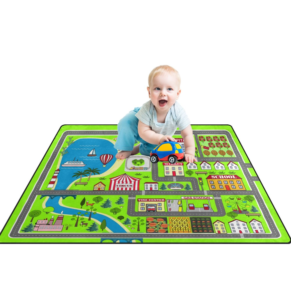 My Little Nest Kids Children Lovely City Buildings Park Road Map Baby Play Mat Game Area Rug Non Slip Soft Educational Fun Carpets for Bedroom Classroom Nursery 4' x 5'3''