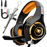 Pro Gaming Headset for PC PS4 Xbox One Bass Surround Sound Over-Ear Headphones with Mic/LED Light/Soft Memory Earmuffs…