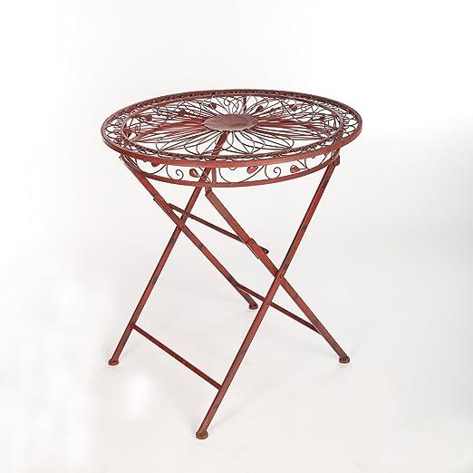 Jardín muebles de jardín mesa mesa mesa Patios de metal hierro Vintage Vino Rojo Antiguo: Amazon.es: Juguetes y juegos