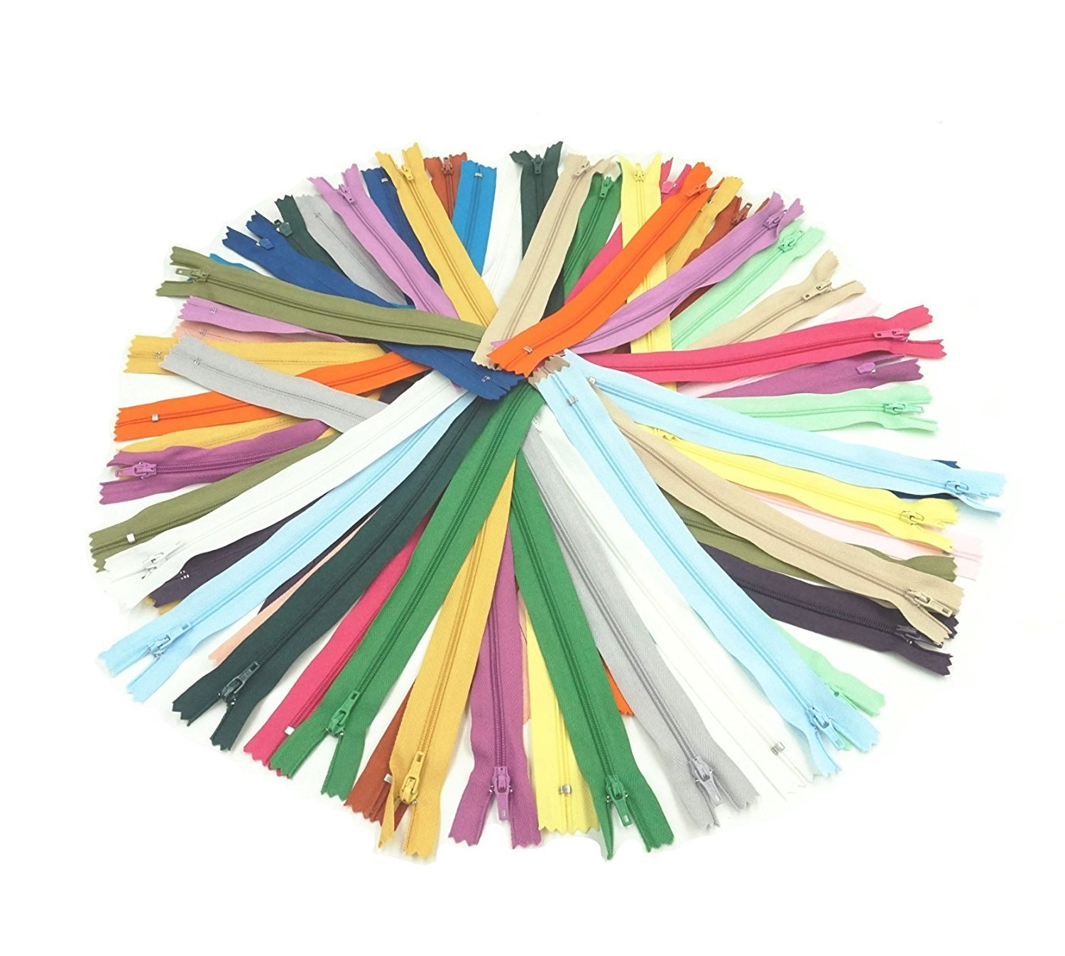 SUNREEK 60 Pcs Mix Nylon Coil Zippers Tailor Sewer Craft 9 Inch Crafter's Special, 20 Colors