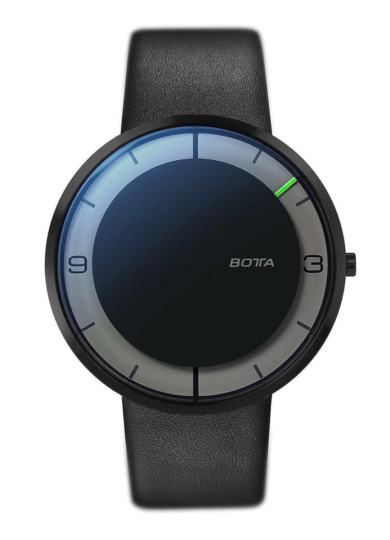 Botta-Design NOVA+ Armbanduhr - Einzeigeruhr - Edelstahl - schwarzes Zifferblatt - Black Edition - Lederband