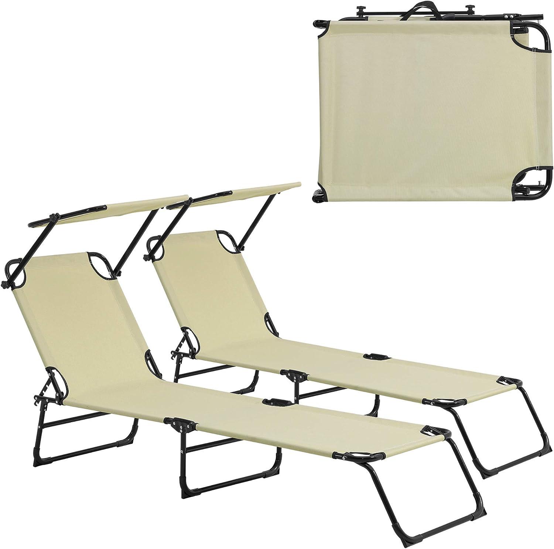 [casa.pro] Set de 2 tumbonas plegables 190cm beige con parasol hamaca de acero para playa, jardín y piscina