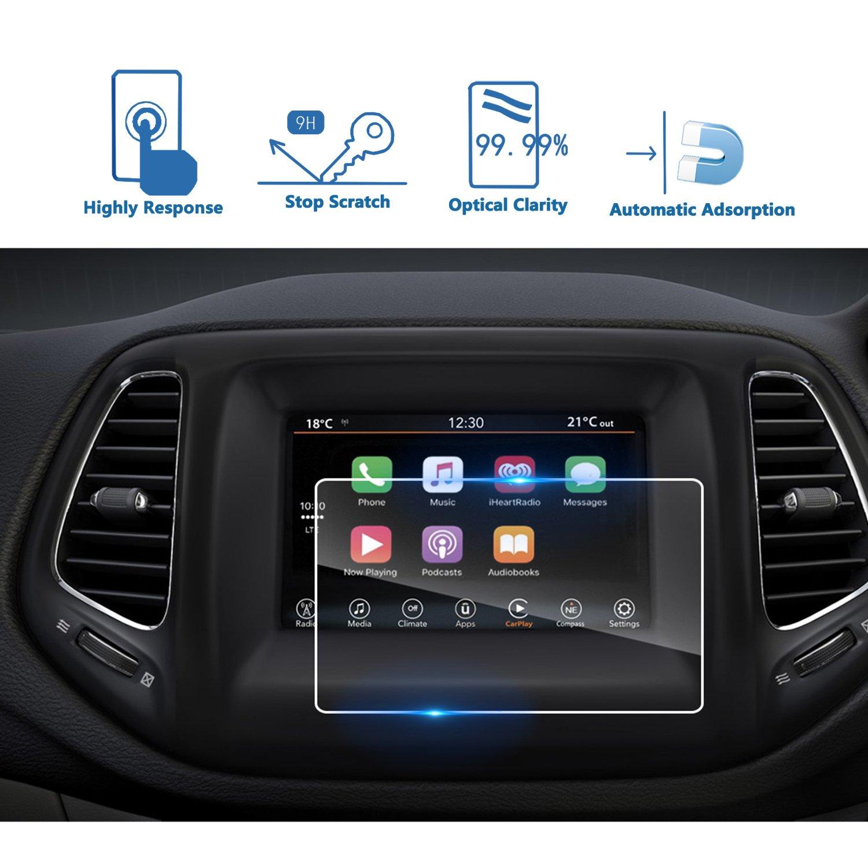 車ナビゲーション画面プロテクター、[ 9h ]強化ガラスInfotainmentセンタータッチスクリーンプロテクターAnti Scratch High Clarity クリア US01CMJPC07 B07874VK2T 2017-2018 Jeep Compass 7 Inch 20172018 Jeep Compass 7 Inch