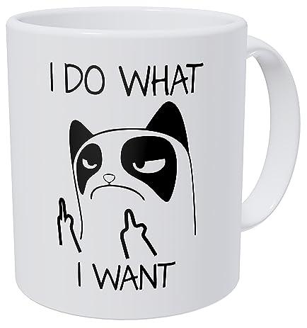 f5438990ab1 Amazon.com: Kaimebien Cat I Do What I Want Middle Fingers 11 Ounces ...