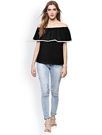 2a59b3dd Harshita Creation HC Designer Round Neck Sleeveless T-Shirt Tops for Women  Girls Party Wear Stylish Tops T-Shirt, Ladies Fancy Black T-Shirt, Latest  Fashion ...