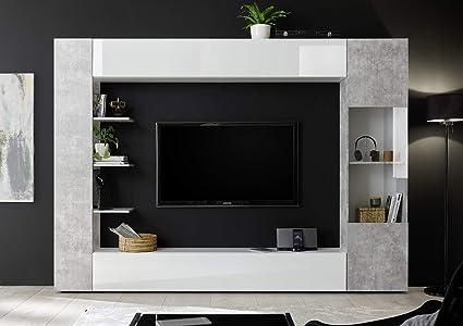 Parete Porta Tv Moderno.Arredocasagmb It Parete Attrezzata Porta Tv Bianca E Cemento