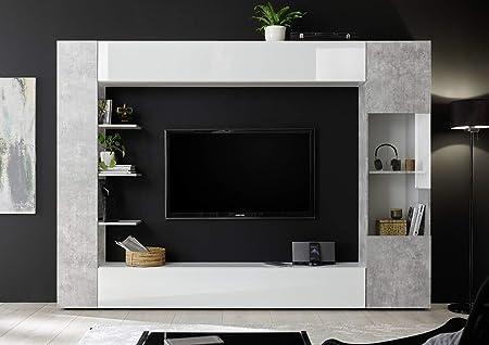 Parete Attrezzata Porta Tv Moderna.Arredocasagmb It Parete Attrezzata Porta Tv Bianca E Cemento
