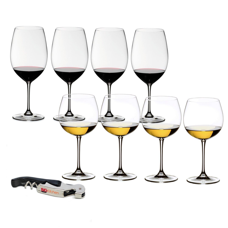 Riedel Vinum XL 8 Piece Cabernet and Chardonnay Wine Glass Set with Bonus BigKitchen Waiter's Corkscrew