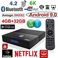 RKTech™ A95X F2 Android 9.0 4GB RAM 32GB ROM Amlogic S905X2 Quad-Core Support 2.4/5.0Ghz WiFi 4K HDMI DLNA, AIRPLAY, MISACAST, JIO TV, HOTSTAR 3D Smart Android TV Box