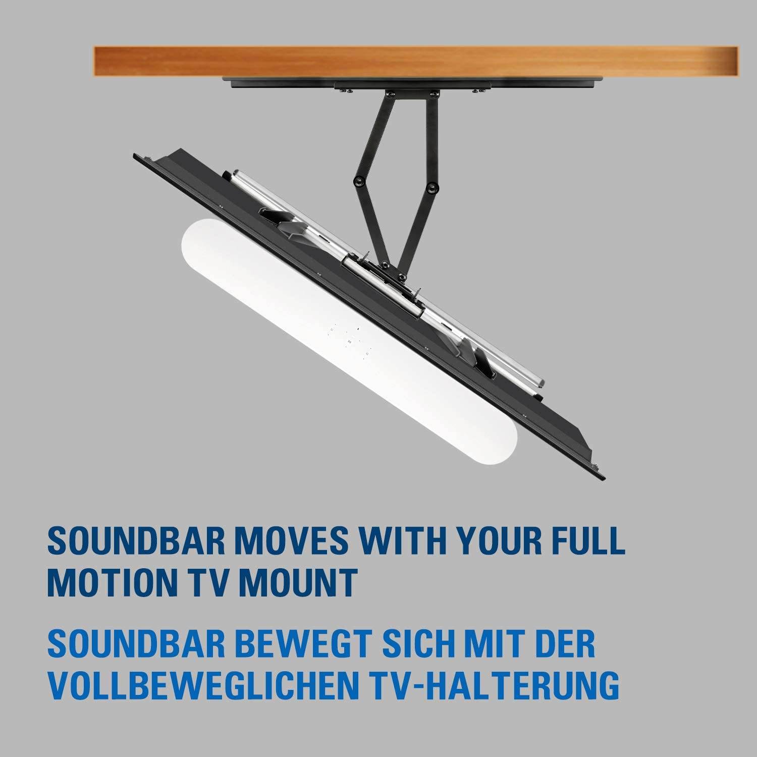 Mounting Dream Soundbar Bracket for SONOS Beam for TVs VESA up to 600 x 400 mm with Sliding Block Mount to TV Mount (White), MD5426-W-03 White for Sonos Beam