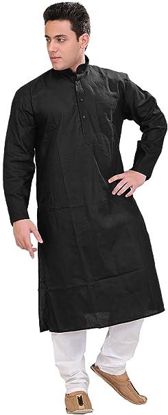 Exotic India Mens Plain Khadi Kurta with White Pyjama Set - Color Jet BlackGarment Size 44
