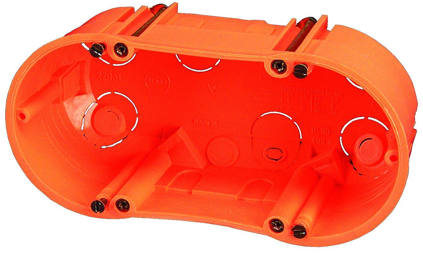 10er Pack Blass Elektro 22039 Hohlwanddose doppelt 140 x 60 mm orange