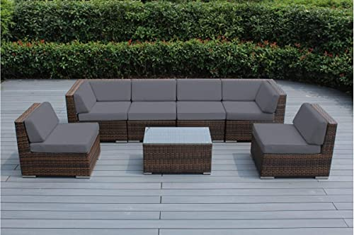 Genuine Ohana Outdoor Patio Sofa Sectional Wicker Furniture Mixed Brown 7pc Couch Set Gray