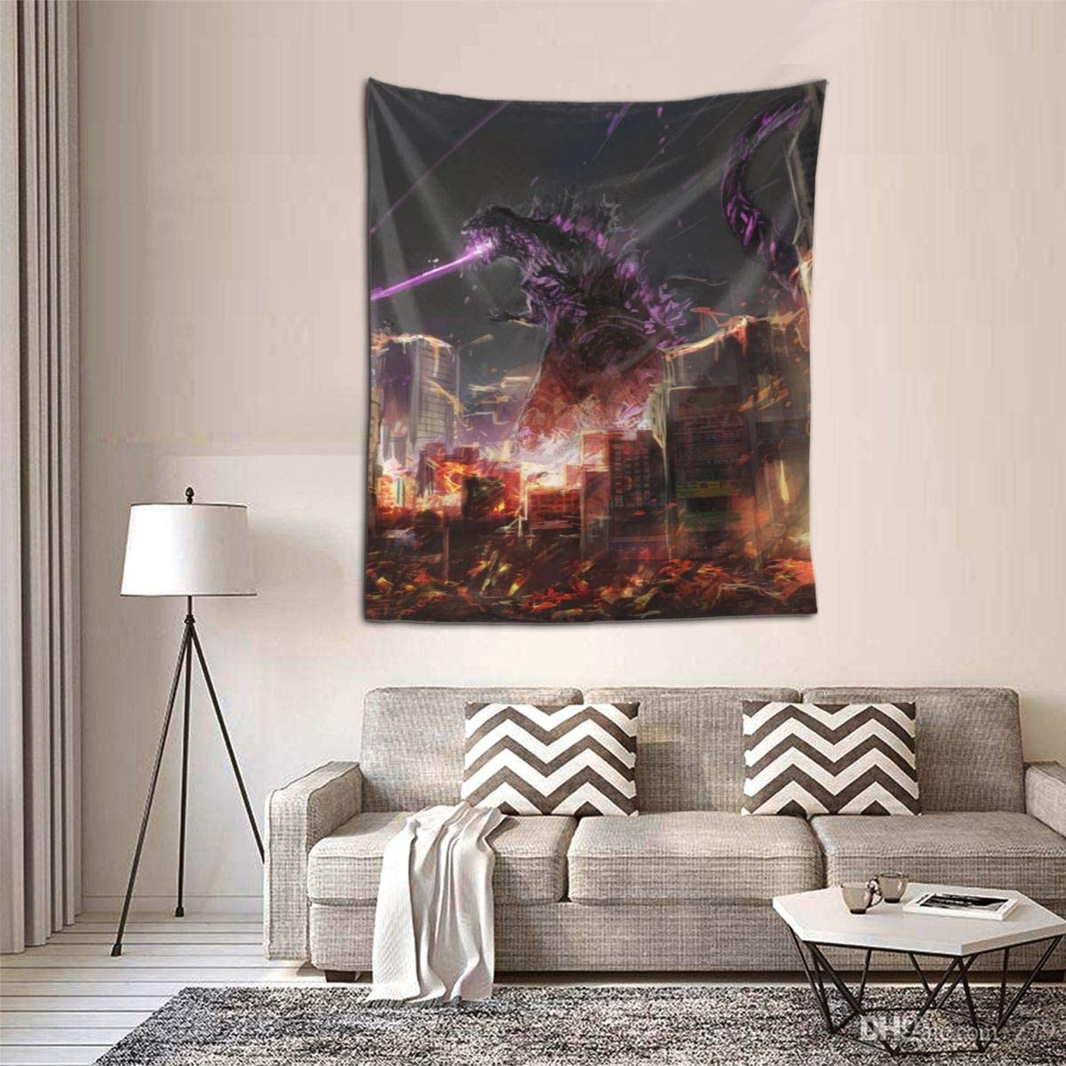 Little Monster Godzilla Prints Tapestries Artwork Wall Blanket Tapestry Wall Hanging Wall Art Poster for Dinning Room Party Modern Wall Decor 80x60in 203x152cm