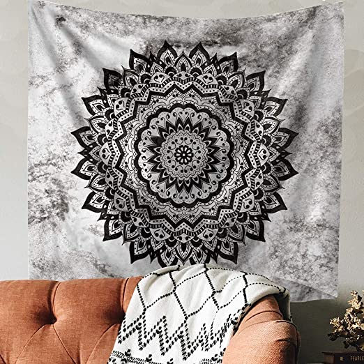 Amazon Com Indusleaf Psychedelic Mandala Tapestry Wall Hanging Bohemian Living Room Wall Decor For Women Girls Black And White Boho Medallion Tapestry For Room Home Kitchen