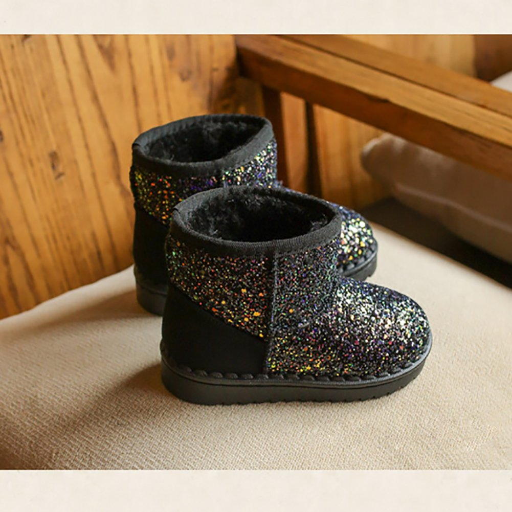 BININBOX Girls Bling Sequins Snow Boots Warm Cotton Shoes Winter Boots (11 M US Little Kid, Black) by BININBOX (Image #3)