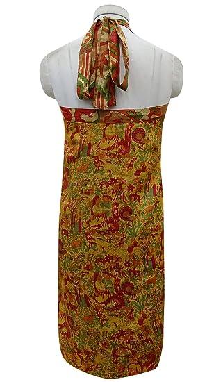 Indianbeautifulart Pura Seda Ligera de la Capa Doble de la impresión Floral de Las Mujeres del Abrigo Vestido Maxi Falda: Amazon.es: Ropa y accesorios