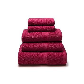 Sancarlos - Juego de 5 toallas YANAI, 100% Algodón, Color Rojo: Amazon.es: Hogar