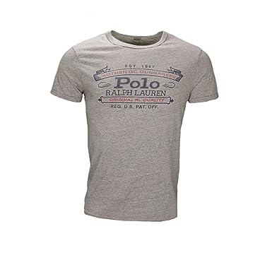 Ralph Lauren T-Shirt col Rond Polo Gris pour Homme  Amazon.fr ... 6bf7e45527bd