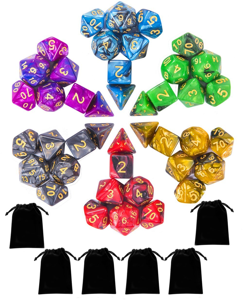 iFergoo 42 Pieces Polyhedral Dice, Double Colors Dnd Game Dice for Dungeons and Dragons DND RPG MTG Table Game D4 D8 D10 D12 D20