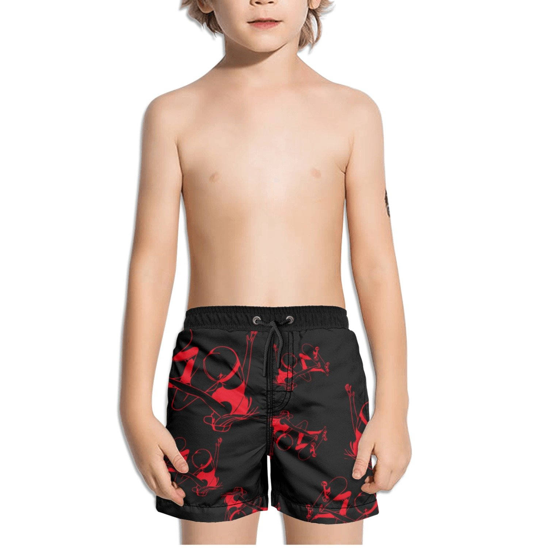 Ouxioaz Boys Swim Trunk Girl Skateboarding Red Beach Board Shorts