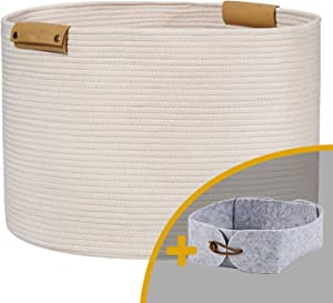 "Large Woven Rope Storage Baskets with Leather Handles, 20""x 13.3"" Cotton Laundry Baskets for Blankets Organizing, Baby Toys Nursery Basket for Living Room, XXL Decorative Woven Baskets for Kids Toys"
