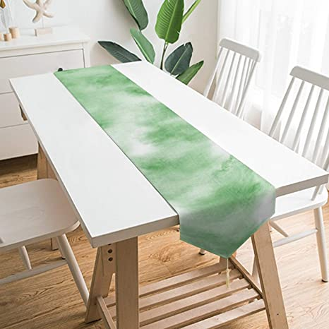 Amazon Com Qsmx Table Runner Home Decor Light Green Tie Dye Multi Size Fall Table Runners For Coffee Long Side Desk Tea Table Bed Dresser Tv Cabinet Dining Room Decorations Home Kitchen